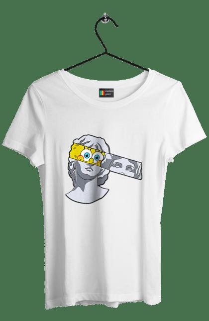 Футболка жіноча з принтом Статуя, Очі Спанч Боба CustomPrint.market