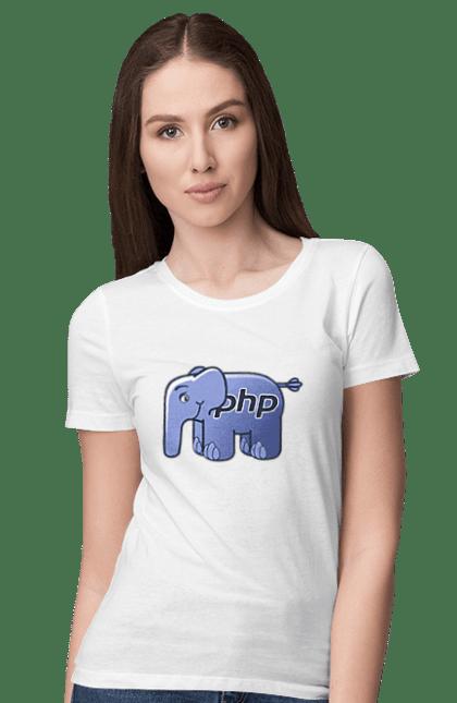 Футболка жіноча з принтом Мова Програмування, Слон. День програміста, мова програмування, програма, програміст, слон. BlackLine