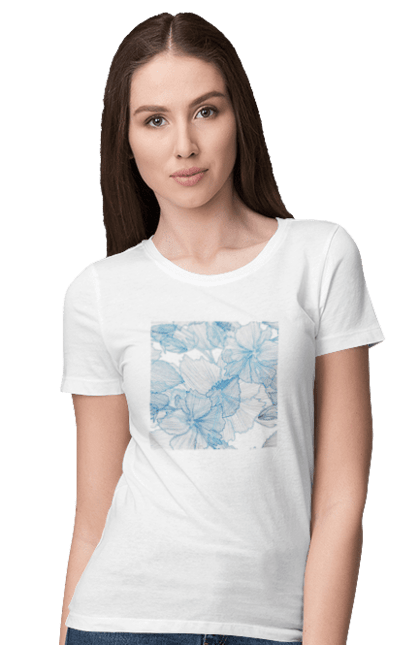 Футболка жіноча з принтом Блакитні Візерункові Квіти. Візерунок, квітка. BlackLine