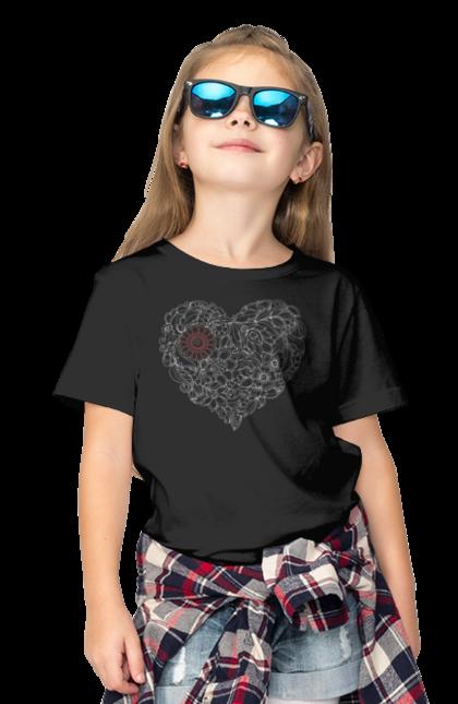 Футболка дитяча з принтом Серце Візерункове З Квітів. Візерунок, квітка, серце. BlackLine