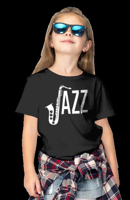 Футболка дитяча з принтом Джаз, Білий. Джаз, музика. BlackLine