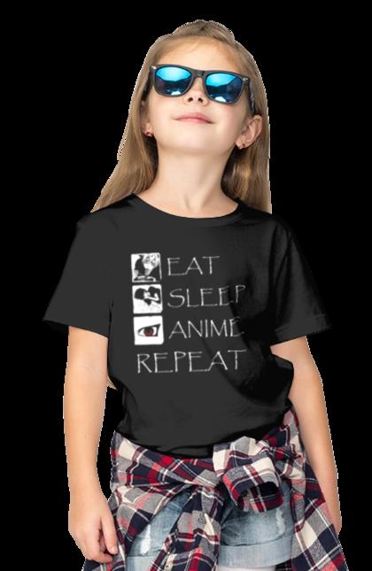 Футболка дитяча з принтом їж спи аніме. Аніме, їж, повторюй, спи. CustomPrint.market