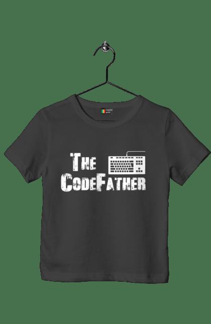Футболка дитяча з принтом Батько Коду, Клавіатура, Білий. День програміста, клавіатура, код, програміст. BlackLine