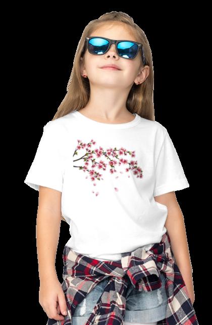 Футболка дитяча з принтом Гілка З Рожевими Квітами. Гілка, гілка з квітами, квіти. BlackLine