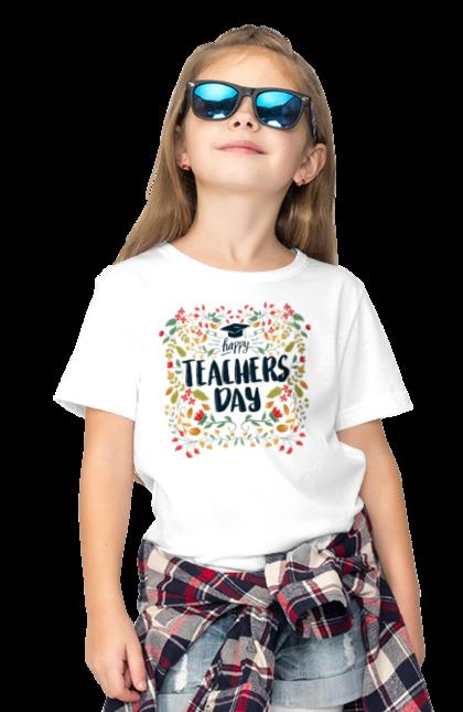Футболка дитяча з принтом Щасливий День Учителя, Квіти. День учителя, знання, навчання, учитель. BlackLine