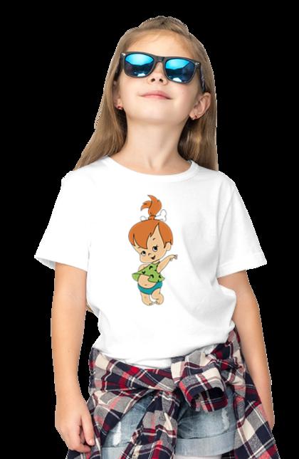 Футболка дитяча з принтом дівчинка Флінстоун. Дівчинка, дочка, сім'я, сімейні, флінстоуни. CustomPrint.market