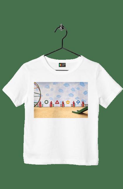 Футболка дитяча з принтом Гра в кальмара, символи. Гра в кальмара, кальмар, серіал. CustomPrint.market