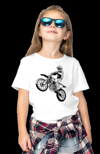 Футболка дитяча з принтом Питбайк. Мотоцикл, мотоцикліст, питбайк. CustomPrint.market