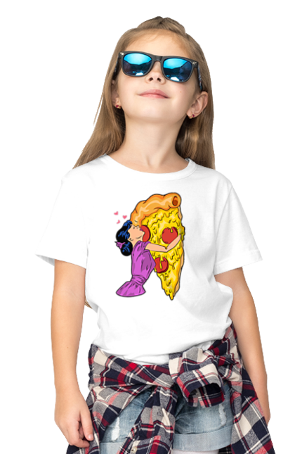 Футболка дитяча з принтом Дівчина Обіймає Піцу. Дівчина, любов, піца.