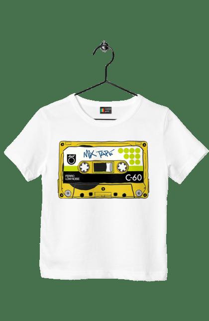 Футболка дитяча з принтом Жовта Касета Для Програвання. 90е, касета, музика. BlackLine