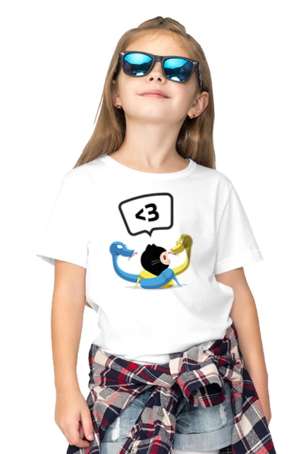 Футболка дитяча з принтом Язик Третього Покоління, Програміст. День програміста, змія, покоління, програміст, язик. BlackLine