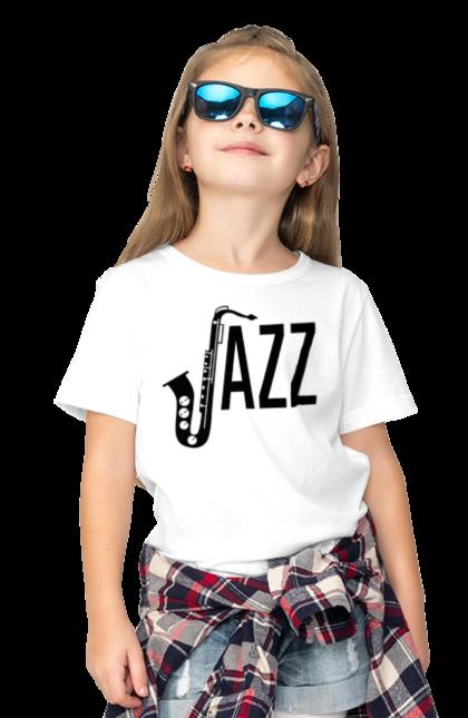 Футболка дитяча з принтом Джаз, Чорний. Джаз, музика. BlackLine