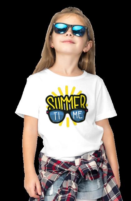 Футболка дитяча з принтом Літо, Окуляри Та Сонце. Літо, окуляри, сонце.