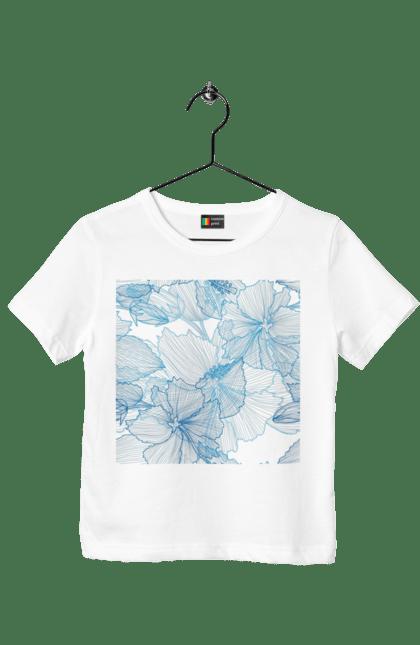Футболка дитяча з принтом Блакитні Візерункові Квіти. Візерунок, квітка. BlackLine
