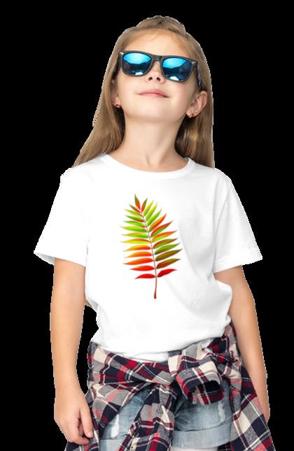 Футболка дитяча з принтом Осінній Листок. Жовтий листок, листок, осінь. BlackLine