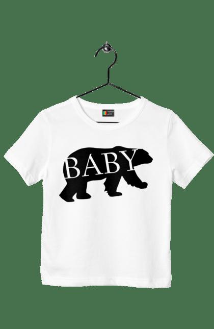 Футболка дитяча з принтом малюк ведмідь. Ведмідь, малюк, сімейні. CustomPrint.market