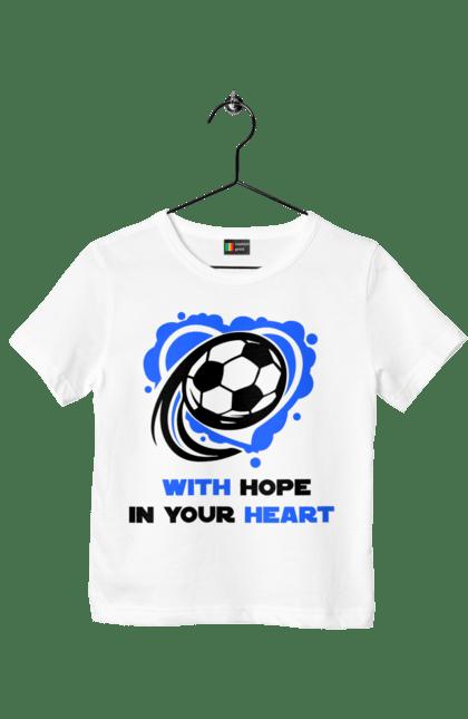 Футболка дитяча з принтом Футбол в серці синій. Футбол. BlackLine