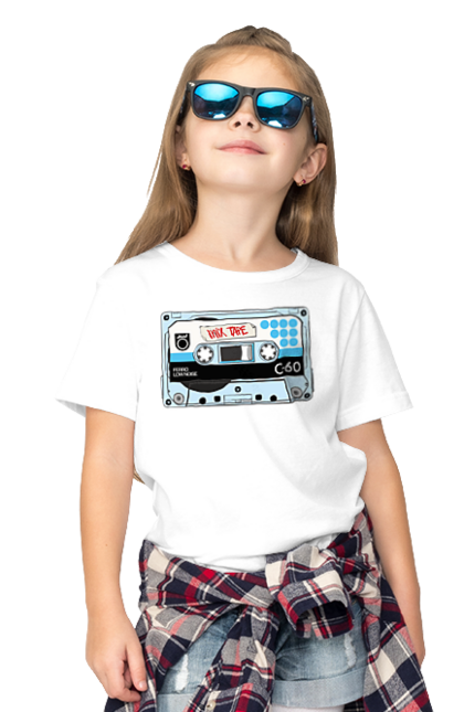 Футболка дитяча з принтом Блакитна Касета Для Програвання. 90е, касета, музика. BlackLine