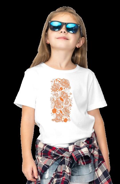 Футболка дитяча з принтом Візерункові Помаранчеві Квіти. Візерунок, квітка. BlackLine