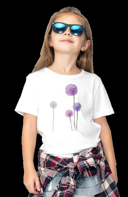 Футболка дитяча з принтом Фіолетові Кульбаби. Квітка, кульбаба, кульбаби. BlackLine