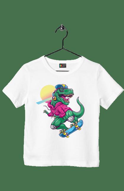 Футболка дитяча з принтом Динозавр В Навушниках І На Скейті CustomPrint.market
