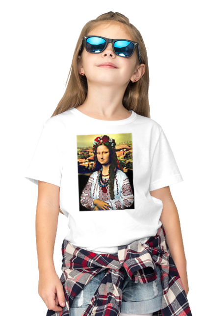 Футболка дитяча з принтом Українська Мона. Картина, ліза, мона, українка. BlackLine
