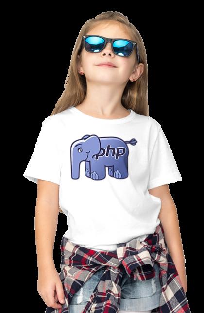 Футболка дитяча з принтом Мова Програмування, Слон. День програміста, мова програмування, програма, програміст, слон. BlackLine