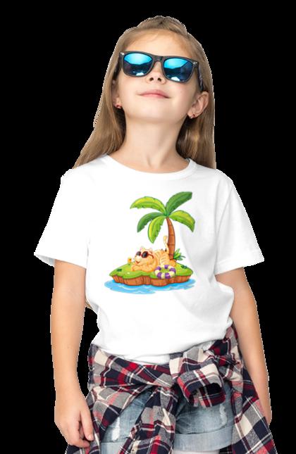 Футболка дитяча з принтом Рудий Кіт У Відпустці. Відпочинок, кіт, літо, острів.