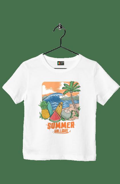Футболка дитяча з принтом Літні Свята. Ананас, літо, море, пальма, хвилі.
