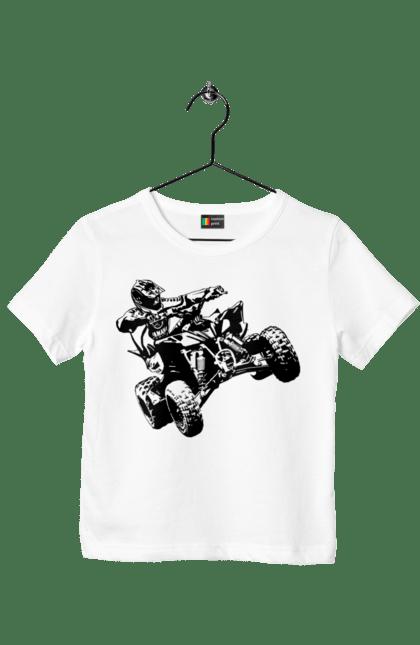 Футболка дитяча з принтом Людина На Квадроциклі Чорний. Гонки, екстрим, квадроцикл.