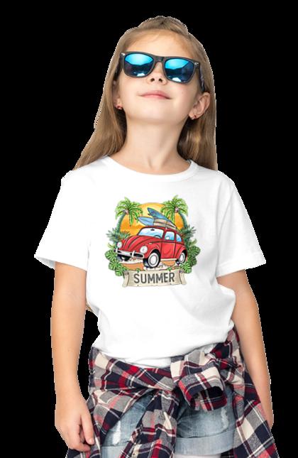 Футболка дитяча з принтом Літо, Машина І Пальми. Відпочинок, літо, машина, пальми.