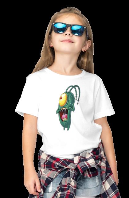 Футболка дитяча з принтом Переляканий Планктон