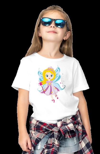 Футболка дитяча з принтом Дівчинка Фея (Сорокіна). # дівчинка, # зірки, # крила, # принцеса, # фея, каска, чарівництво. CustomPrint.market