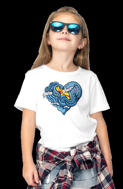 Футболка дитяча з принтом Серце З Хвиль. Літо, море, серце, хвилі.