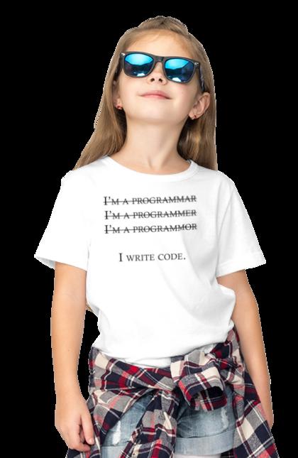 Футболка дитяча з принтом Я Пишу Код, Програміст, Чорний. День програміста, клд, пишу код, програма, програміст. BlackLine