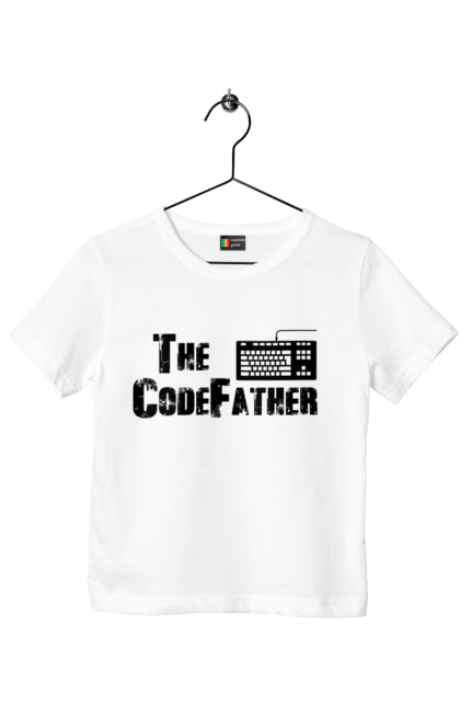 Футболка дитяча з принтом Батько Коду, Клавіатура, Чорний. День програміста, клавіатура, код, програміст. BlackLine