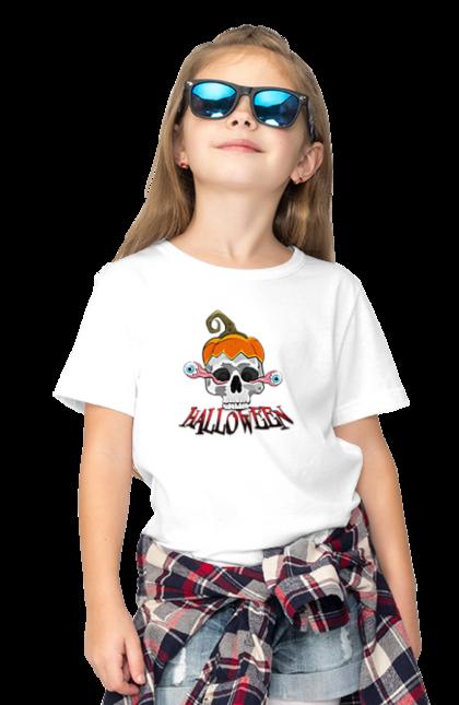 Футболка дитяча з принтом Череп с выпадающими глазами. Глаза, тыква, хеллоуин, череп, шляпа тыква. CustomPrint.market