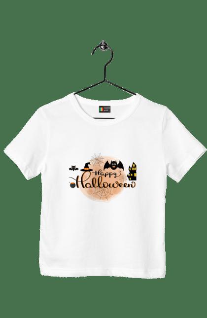 Футболка дитяча з принтом Веселого хеллоуина. Вечеринка, день всех святых, летучая мышь, праздник, хеллоуин. CustomPrint.market