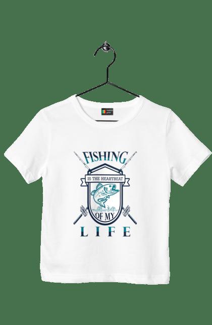 Футболка дитяча з принтом День Рибалки Рибловля Це Серцебиття. Відпочинок, день, отдых, развлечения, рибалка, рибалки, розваги, рыбаки, рыбалка, спорт, хобби, хобі.