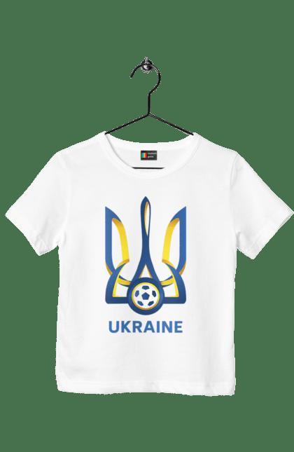 Футболка дитяча з принтом Футбол Герб України 2020 BlackLine