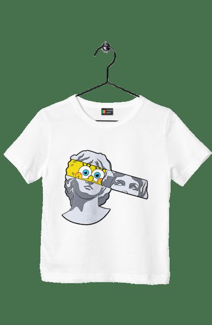 Футболка дитяча з принтом Статуя, Очі Спанч Боба CustomPrint.market