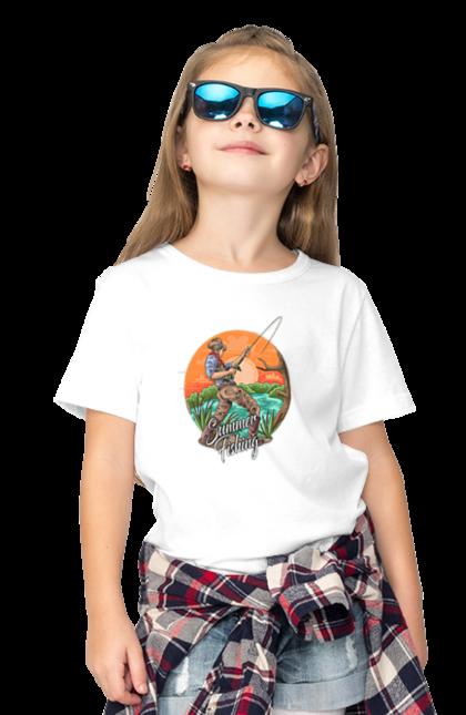 Футболка дитяча з принтом День Рибака Літня Риболовля. Відпочинок, день рибалки, день рыбака, лето, літо, отдых, развлечения, розваги, рыбалка, спорт.