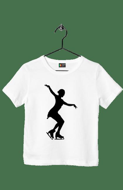 Футболка дитяча з принтом Силует Дівчини На Ковзанах BlackLine