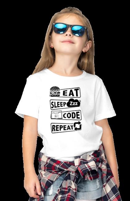 Футболка дитяча з принтом Їжа, Сон, Код, Повторити, Програміст Чорний. День програміста, їжа, код, програміст, сон. BlackLine