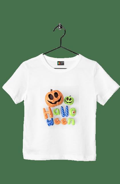 Футболка дитяча з принтом Тыквы разноцветные 3D. 3D, разноцветный, тыква, фонарь джека, хеллоуин. CustomPrint.market