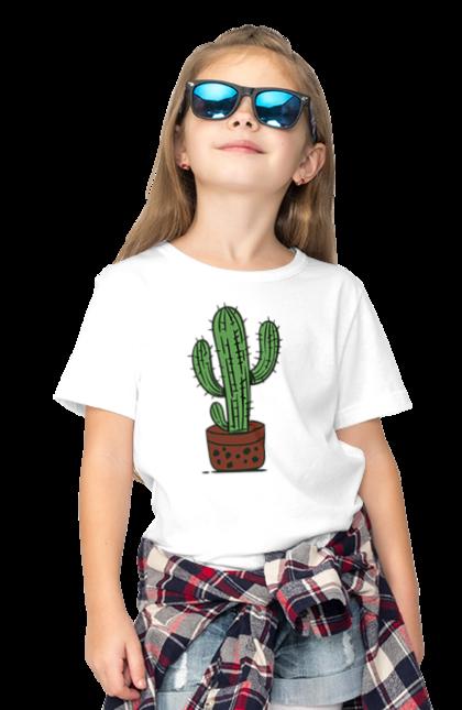 Футболка дитяча з принтом Зелений Кактус. Кактус, фарби. BlackLine